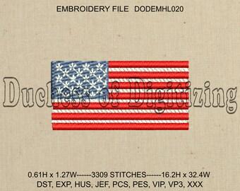 Tiny US Flag Embroidery Design, Tiny US Flag Embroidery File, US Flag Embroidery Design, us Flag Embroidery File,  DODEMHL020