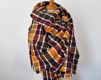 READY TO SHIP Large Blanket Scarf, Oversized Scarf, Winter Scarf, Fall Scarf, Gift for Her, Christmas Gift, 100% Cotton Scarf, Limited Stock