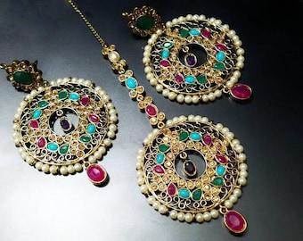 Tikka, Maang Tikka and earrings, Tikka headpiece, Navratan jewelry, Nizam jewelry Hair jewelry, Indian tikka, Tikka and jhumka, Bollywood.