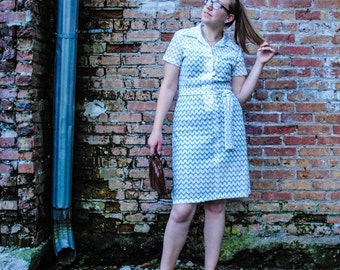 Classic Shirt Dress with scalloped lace pattern