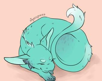 Sleeping Dragon Cub 8.5 x 8in Digital Art Print
