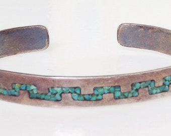 Native American Old Pawn Navajo Geometric Turquoise Coral Sterling Inlay Cuff 1970's