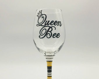 Queen Bee Mom Wine Glass Hand Painted Yellow White and Black with Crown Tiara Mom Mother Boss