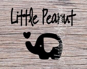 Iron on decal - Little Peanut - elephant - baby / child clothing accessory