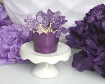 10 decorations for Cupcakes (cupcake toppers) - purple color glitter butterflies