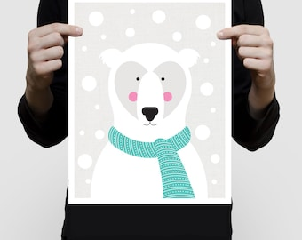 nursery print polar bear in a snow storm artwork, winter animal ckids illustration arctic childrens room decor baby girl or baby boy giclee