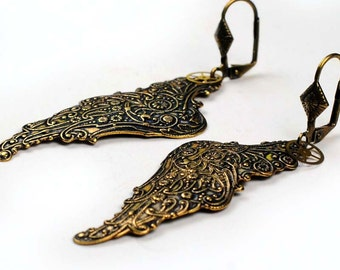 Steampunk Oxidized Brass Angel Wings and Watch Movement Gear Earrings