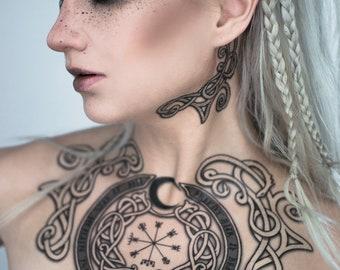 Viking Vegvisir Tattoo Set