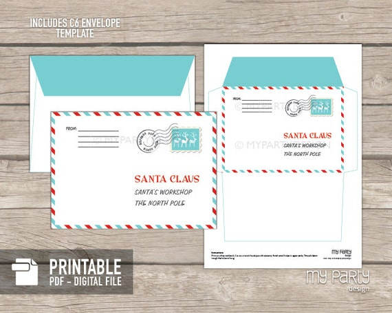 Letter to santa kit with envelope template red turquoise letter to santa kit with envelope template red turquoise santa claus christmas instant download printable pdf pronofoot35fo Image collections