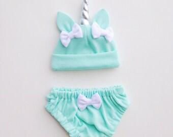 Mint Unicorn Baby Hat & Bloomers Set