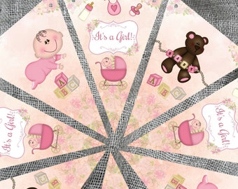 It's a Girl! Pink Baby Bunting & Ribbon - 3m/12 flags