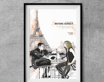 Before Sunset Alternative Movie Poster - Original Illustration