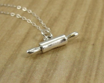 Tiny Rolling Pin Necklace, Sterling Silver Rolling Pin Charm on a Silver Cable Chain