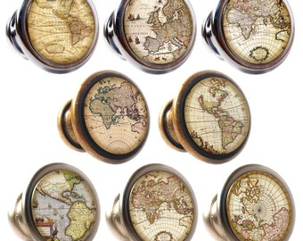 Antique Maps Decorated Zinc Alloy 30mm Drawer Cupboard Cabinet Knobs