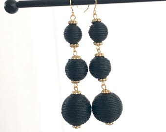 Pom Pom Earrings in Jet Black