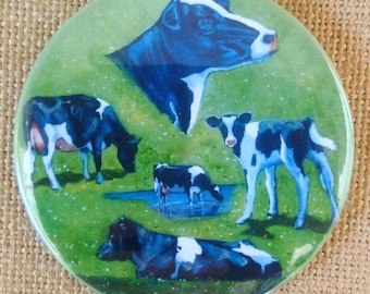 """COWS Fridge Magnet, 3.5"""", Painting of Holstein Cows and Calf, OOAK, Farm, Farmer, Dairy Producer, Black And White Cows, Cattle"""