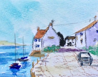 Seascape ORIGINAL Miniature Watercolour Harbour Village Boats Houses Cottage ACEO Watercolor For him For her Home decor, Wall art, Gift Idea