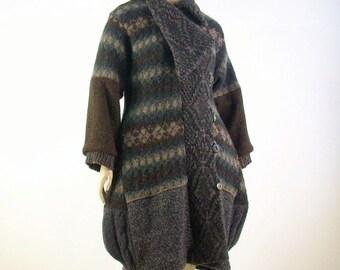Upcycled Sweater Coat/ Brown Wool/Size Medium/Large US 10- 12-14/Altered Clothing/Brenda Abdullah