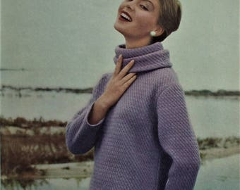 Vintage Vogue Knitting Book No 51 Autumn 1957 1950s Knitting Patterns Women's Sweaters Jumpers Jackets Cardigans 50s original patterns