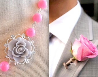 Pink Necklace / Gray Flower Necklace / Bridesmaids Jewelry Gift / Rose necklace / Floral Jewelry wedding jewelry pink gray jewelry