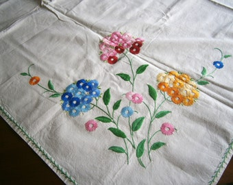 "Hand Embroidered Tablecloth / Off-White Cotton / Square Table Cover / Vintage / Country Chic / Floral Tablecloth / 1950's / 50"" x 50"""