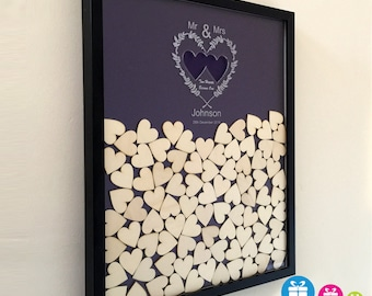 Personalised wedding drop box alternative guest book with 65 hearts and coloured background