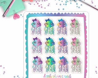 Pretty Jellyfish Stickers for Your Planner!