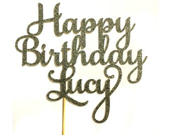Happy Birthday Personalized cake topper,  glitter cake topper with name, custom centerpiece