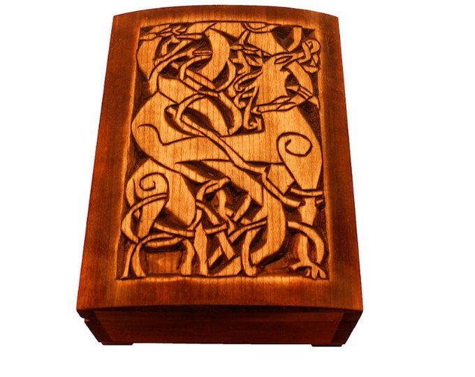 Wooden historical jewelry box with Urnes Deer