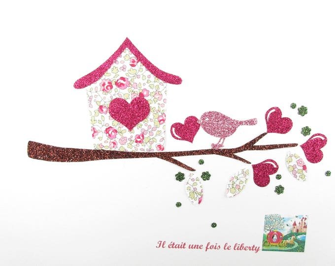 Applique bird and birdhouse fabric fusing liberty Eloise pink and glitter flex fusible liberty iron on patch applique