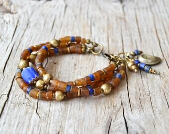 Bohemian bracelet, beaded boho bracelet, hippie gypsy tribal jewelry, gift for her, multi layer bracelet