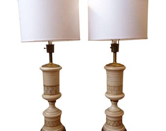 Vintage Regency Frosted White and Gold Table Lamps- Paiar