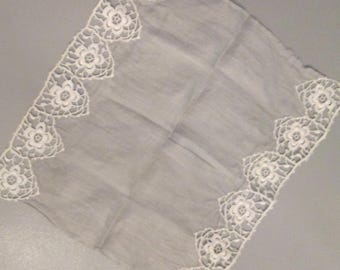 Vintage Handkerchief/ Tatted Lace - Gray Voile Hanky - Vintage Wedding - Something Old