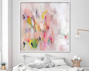Large wall art GICLEE print from Acrylic Painting Abstract Art Nursery Decor Acrylic  Fine Art Print pink white