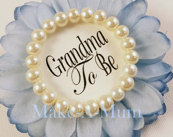 Hand-dyed BLUEBONNET, Baby Shower Corsage, baby shower favor, Grandma To Be, GLASS PEARLS,  Mommy To be Pin ,bLUEBONNET/pEARLS/gTB