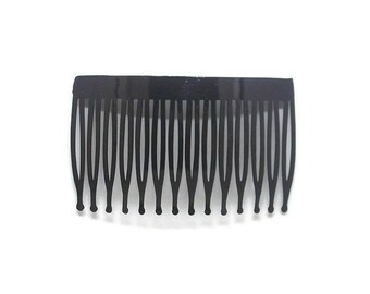 24 Plastic Hair Combs Black- 70mm (3 inch)