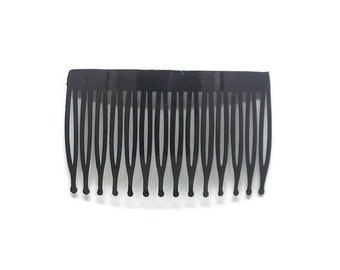 12 Plastic Hair Combs Black- 70mm (3 inch)