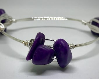 Purple and Silver Wire Wrap Bangle Bracelet