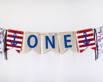 Patriotic Birthday Banner - Nautical Birthday Photo Prop - Boy 1st Birthday - Anchor Banner - 4th July Party Ideas - Nautical Party Supplies
