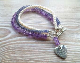 Fresh Water Pearls, Iolite and Amethyst Three Strand Bracelet UK Made