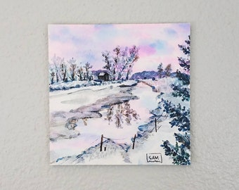 Mini Watercolor Painting on panel 'Dulcet' sunrise sunset mountain water winter