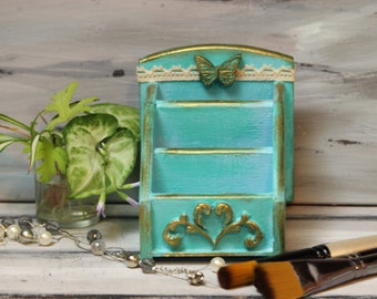 Wooden Box, Turquoise Box, Bedroom Decor, Junk Box, Desk Organizer, Desktop Decor, Kitchen accessory, Stationary Storage, Craft room, Box