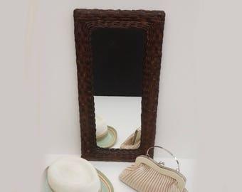 French vintage Dark Wicker Mirror, Seventies Beach House Bohemian Chic Wall Mirror 1970s