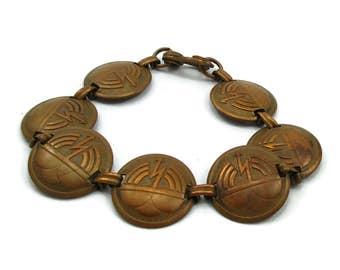 Copper Lightning Bolt Bracelet Southwestern Clasp Statement Mid Century Modernist Designer Vintage Estate Find Gift Idea
