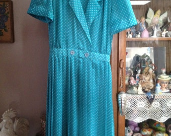 Wonderful 1940s style Shirt Dress Double Button Front Teal White Polka Dot Vintage Sheer Lovely!