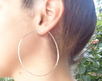 """SUPER PRICE! - Extra Large ,2.5"""" sterling hoops- Hammered Silver Hoops-birthday mothers day gifts"""