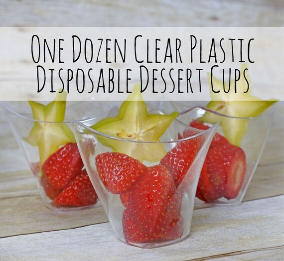 One Dozen 4 Oz Clear Disposable Plastic Dessert Cups Jello