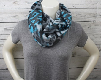 Gray And Blue Leopard Fleece Infinity Scarf, Gray Fleece Infinity Scarf, Grey Infinity Scarf, Warm Infinity Scarf, Leopard Fleece Loop Scarf