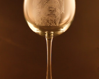 Etched Wirehaired Pointing Griffon on Elegant Wine Glass (set of 2)