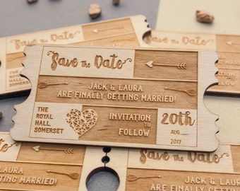 Personalised wooden wedding 'Save the Date'